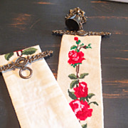 SOLD Gorgeous Hand Made Needlepoint Bell Pull featuring Brass Bell & Hardware - Red Roses