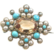 Antique Citrine, Turquoise, Seed Pearl Pin