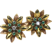 Retro 18kt Diamond, Emerald Earclips