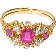 Antique 18kt Ruby, Diamond Ring