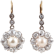 Dazzling Antique 3.0 Carats Diamond Cluster Earrings with Pearl Center