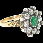 Striking Victorian Emerald Diamond Ring