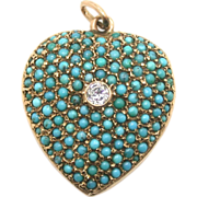 Victorian Pave Turquoise Heart Locket