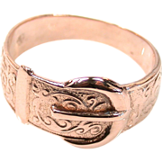 Victorian Buckle Motif Band Ring in Rose Gold