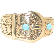 English Buckle Ring with Turquoise Accents