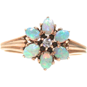 Lovely Opal Diamond Flower Cluster Ring