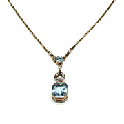 Aquamarine & Natural Seed Pearl Pendant Necklace