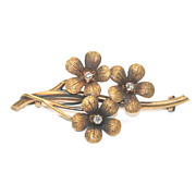 Antique Floral Brooch with Diamonds
