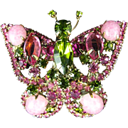 Juliana Delizza & Elster Pink Cabochon Green Pink Rhinestone Butterfly Pin