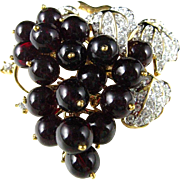 REDUCED Nolan Miller Bordeaux Grapes Deep Red Glass Vintage Pin