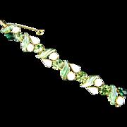 Schiaparelli Molded Glass Peridot & Emerald Green Rhinestone White Moonstone & White Opalescen