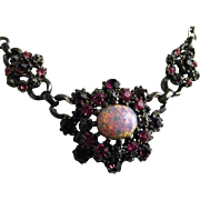 SALE Rare Vintage Very Early Coro Faux Opal Rhinestone Choker Necklace