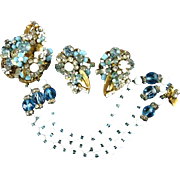Signed Robert Light Blue Rhinestone Blue & White Art Glass Three Strand Bracelet & Earring Set