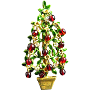 Original by Robert Red Glass Clear Rhinestone Topiary Christmas Tree Pin