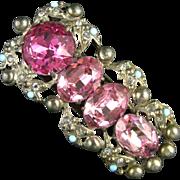 Art Deco Large Pink Glass Rhinestones Pot Metal Vintage Dress Clip