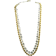 "Miriam Haskell Signed 30"" Crystal and Gilded Russian Gold Plate Chain Ornate Clasp Neckla"