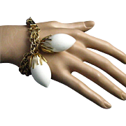 REDUCED Napier White Acorn or Fruits Charm Bracelet Textured Gold Plated Double Chain