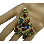 Eisenberg Ice Christmas Tree Pin Rhinestones Swarovski Crystals