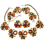 Signed Schiaparelli Necklace Bracelet and Earrings Parure in Topaz and Amber Rhinestones