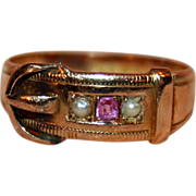 SALE 15kt Gold Buckle Ring with Ruby, Pearls c1890