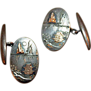 SALE Cufflinks in Sterling Silver and 14kt Gold c1920