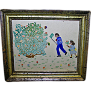 SALE Antique Naive Watercolor, Catching Butterflies c1900