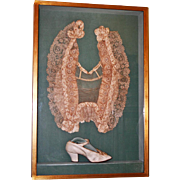 Lace Gown Decorative Yoke and Shoe, Period Belle Epoch ~ Shadowbox