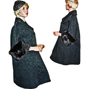 Evening Swing Coat c1953 Brocade and Fox, Leventhal's Kingston NY