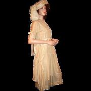 Period Art Deco Silk Formal Ensemble Dress w/ Tabard, Shoes, Hat c1924