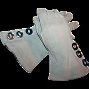 Vintage Blue Gauntlet Gloves c1940 Ex-Collection