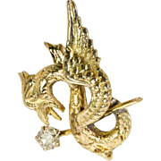 Antique: Victorian Gold Mythical Beast With Old Mine Cut Diamond Earring, Single Stud