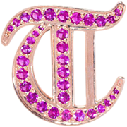 Gothic Initial Pendant in Gold with Deep Pink Sapphires