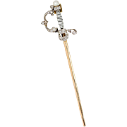 "Antique: Diamond Sword Pendant in Platinum & 18 kt Gold ""The Jeweled Fencing Foil"""