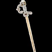"Antique: Diamond Sword Pendant in Platinum & 18 kt Gold ""The Jeweled Fencing Foil"""
