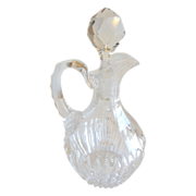 SOLD Cut Glass Vintage Crystal Cruet Small Pitcher With Stopper