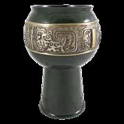 Chinese Dark Green Metal Vase Goblet Signed Brass Dragon Motif Band