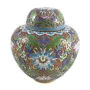 "SALE Cloisonne Chinese Enamel Gold Gilded Metal Vase Lotus Ginger Jar 6 1/8"""