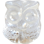 SALE Lars Hellsten Skruf Swedish Crystal Owl Paperweight
