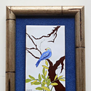Betty Gray Signed Raised Blue Bird Hand Painted Tile Art Framed Texas
