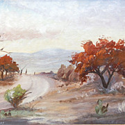 """1968 """"Late Fall"""" Minniebell McKaughan Perkins Texas Landscape Oil Painting"""