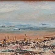 1965 Seascape Ocean Shore Oil Painting Texas Artist Frances Brown