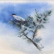Miralu Fort Worth Texas Artist Bird Watercolor Painting