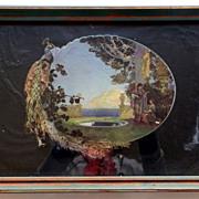 SOLD 1920's 30's Parrish Style Peacock Italian Couple Mandolin Mountain Framed Tray