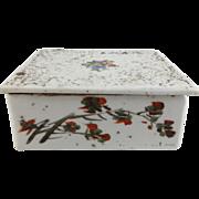 Antique Japanese Pre-1900's Porcelain Hand Painted Floral Trinket Box