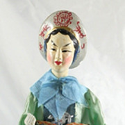 SALE Vintage Japanese Japan Hand Painted Traditional Ningyo Doll Woman Fisherman