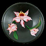 "Vintage Black Metalware Enamel Floral Iris Decorative Plate 9 1/2"""