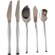 Anneta National Stainless Flatware 5 Piece Set Jelly Server, Knives, Egg Spoon