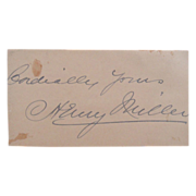 SOLD Historical Cut Signature Autograph Actor Henry Miller (1859-1926)