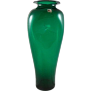 SALE Vintage Blenko Emerald Ivy Green Pinched Art Glass Handmade Vase 15 1/4""