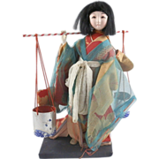 SALE Vintage Japanese Japan Traditional Ningyo Doll Woman Hand Painted w/ Buckets